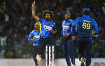 Sri Lanka's Lasith Malinga and teammates celebrate during an ODI match against Bangladesh on 26 July 2019. Picture: @ICC/Twitter.