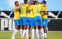 Mamelodi Sundowns players celebrate a goal. Picture: @Masandawana/Twitter