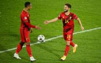 Belguim's Youri Tielemans and Dries Mertens celebrate a goal against England in their UEFA Nations League match on 15 November 2020. Picture: @EURO2020/Twitter