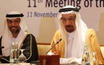 Saudi Energy Minister Khalid al-Falih (R) talks as UAE's Energy Minister Suhail Mohammed Faraj al-Mazroui (L) listens during a meeting of their Joint Ministerial Monitoring Committee in the Emirati capital Abu Dhabi on 11 November 2018. Picture: AFP
