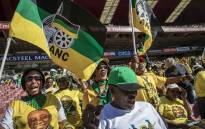 ANC supporters dance and sing at the Ellis Park Stadium as the show begins before speeches and dignitaries arrive. Picture: Thomas Holder/EWN
