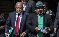 Public Enterprises Minister Pravin Gordhan and Eskom chairperson Jabu Mabuza arrive for a press briefing at Lethabo power station. Picture: Abigail Javier/EWN
