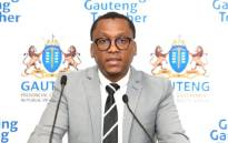 FILE: Axed Gauteng Health MEC Dr Bandile Masuku addressing the media in Johannesburg during a press briefing on 17 July 2020. Picture: @GautengProvince/Twitter