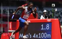 USA's Trayvon Bromell competes in the men's 4x100m relay heats during the Tokyo 2020 Olympic Games at the Olympic Stadium in Tokyo on 5 August 2021. Picture: Jonathan Nackstrand/AFP