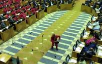 A screengrab of EFF leader Julius Malema doing the vosho before taking his oath as a Member of Parliament on 22 May 2019.