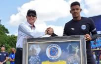 SuperSport United goalkeeper Ronwen Williams (right) with Stan Matthews as they celebrate the stopper's new contract and 300th cap for the club. Picture: @SuperSportFC/Twitter