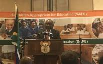 President Cyril Ramaphosa has launched the Sanitation Appropriate for Education (SAFE) initiative in Pretoria on 14 August 2018. Picture: Thando Kubheka/EWN