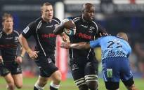 Sharks' Tera Mtembu fights to go past Blue Bulls player. Picture: Facebook.