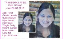 Missing Cape Town mother Tasneema Sayed. Picture: Pink Ladies.