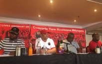 Nehawu leadership briefing the media on the impending national strike at Sassa offices. Picture: Thando Khubeka/EWN