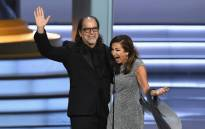 Glenn Weiss (L), winner of the Outstanding Directing for a Variety Special award for 'The Oscars,' and Jan Svendsen react after getting engaged on stage during the 70th Emmy Awards at Microsoft Theater on 17 September 2018 in Los Angeles, California. Picture: Getty Images/AFP