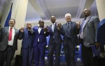 Democratic Alliance leader Mmusi Maimane and other DA members at the DA press briefing on its candidate for the Western Cape premier on 19 September 2018. Picture: Cindy Archillies/EWN