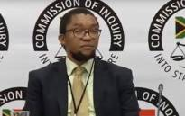 A screengrab fo deputy director-general at the Department of Public Enterprises Kgathatso Tlhakudi appearing at the Zondo commission of inquiry.