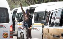 Taxi drivers blocked roads in Marabastad on 18 November 2020 as part of a mass shutdown in Gauteng. The taxi industry wants government to fast-track the payout of more than R1 billion in relief funds announced by Transport Minister Fikile Mbalula. Picture: Xanderleigh Dookey/EWN
