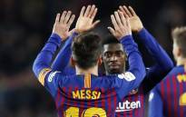 Barcelona's Ousmane Dembele celebrates with teammate Messi after scoring a goal during their match against Celta Vigo. Picture: @FCBarcelona/Twitter.