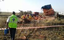 Many chickens died while many others were injured in when a truck transporting them overturned. Picture: Twitter @NSPCA_SA.