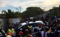 KwaMakhutha residents protest outside the local police station on 16 June 2021 following the murder of Anele Bhengu. Picture: Nkosikhona Duma/Eyewitness News