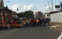 Protesting students march back to Braamfontein along Solomon & Smit streets on 15 March 2021. Picture: @JoburgMPD/Twitter
