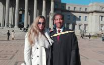 Ashwin Willemse and wife Michelle at Wits University. Picture: @Wits_News?/Twitter.