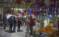View of typical Pinatas for sale in a market at Xochimilco, Mexico City, on December 15, 2020. Picture: AFP.