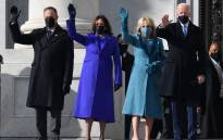 Doug Emhoff, US Vice President-elect Kamala Harris, incoming US First Lady Jill Biden, US President-elect Joe Biden arrive for the inauguration of Joe Biden as the 46th US President on 20 January 2021, at the US Capitol in Washington, DC. Picture: ANGELA WEISS/AFP