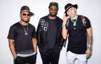 A screengrab of The Black Eyed Peas members, from left, apl.de.ap, will.i.am and Taboo. Picture: Twitter/@bep.
