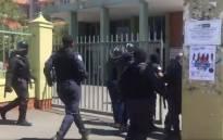 KwaZulu-Natal police arrested five DUT students on charges of public violence on Friday. Picture: Nkosikhona Duma/EWN.