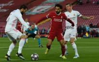 Liverpool's Mohamed Salah (centre) attempts to get past Real Madrid's Toni Kroos and Casemiro in their Uefa Chmapions League match at Anfield in Liverpool, England on 14 April 2021. Picture: @LFC/Twitter