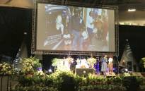 The stage at the funeral of professor Bongani Mayosi held at the Cape Town International Conventional Center. Picture: Shamiela Fisher/EWN.