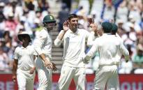 Proteas fast bowler (centre) Duanne Olivier celebrates the fall of a Pakistani wicket with his teammates during day one of the second Test at Newlands on 3 January 2019. Picture: AFP