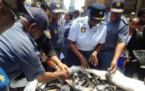 National Police Commissioner Riah Phiyega (C) and a number of senior officers oversaw the destruction of over 4,000 guns on 16 January,2015. Picture: Vumani Mkhize/EWN.