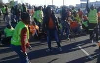 Striking Teti Traffic workers block the N1 North Highway at New Road on Tuesday 3 May 2016. Picture: Supplied.