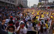 Protesters take part in a demonstration against the military coup in Mandalay on 22 February 2021. Picture: AFP