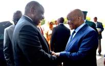 President Cyril Ramaphosa (L) and Lesotho Prime Minister Thomas Thabane (R) hold hands during his working visit to the Mountain Kingdom on 27 November 2019. Picture: @PresidencyZA/Twitter
