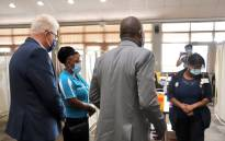 National Health Minister Dr Zweli Mkhize and Premier Alan Winde at the Western Cape vaccination centre.