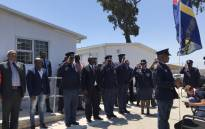 National Police Commissioner Khehla Sitole and Minister of Police Bheki Cele (C) attend the official opening of a police station in Samora Machel, Nyanga, Cape Town. Picture: Kaylynn Palm/EWN.
