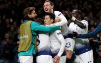 Tottenham Hotspur players celebrate their UEFA Champions League quarterfinal first leg win over Manchester City in London on 9 April 2019. Picture: @SpursOfficial/Twitter