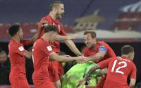 England's players celebrate after the penalty shootout at the end of the Russia 2018 World Cup round of 16 football match between Colombia and England at the Spartak Stadium in Moscow on 3 July 2018. Picture: AFP