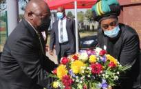 President Cyril Ramaphosa on Saturday,  10 April 2021 at the 28th Annual Chris Hani Commemoration wreath-laying ceremony. Picture: Twitter/@MYANC
