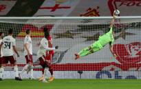 Arsenal goalkeeper Bernd Leno makes a save during the Carabao Cup match against Lievrpool on 1 October 2020. Picture: @Arsenal/Twitter