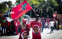 A number of EFF supporters were at the Randburg Magistrates Court on 28 October 2020 to support EFF leader Julius Malema and member of parliament Mbuyiseni Ndlozi. The pair are facing a charge of assault for allegedly assaulting a police officer at the 2018 funeral of Winnie Madikizela-Mandela. Picture: Xanderleigh Dookey/EWN