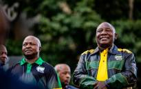 ANC president Cyril Ramaphosa and his deputy David Mabuza outside Luthuli House on 12 May. Picture: Kayleen Morgan/EWN