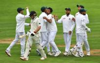 Bangladesh players celebrate New Zealand's Tom Latham (2nd L) being caught during day three of the second Test cricket match between New Zealand and Bangladesh at the Basin Reserve in Wellington on 10 March 2019. Picture: AFP