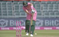 South Africa's Rassie van der Dussen plays a shot during the second one-day international (ODI) cricket match between South Africa and Pakistan at Wanderers Stadium in Johannesburg on April 4, 2021. Picture: Christiaan Kotze / AFP.
