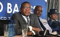 New Police Minister Fikile Mbalula at an official police welcoming parade at the SAPS training college in Pretoria West. Picture: Kgothatso Mogale/EWN