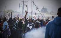 Grabouw residents protest on 10 May 2016 after shacks were demolished in the area. Picture: Thomas Holder/EWN.