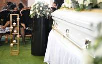 Lindsay Myeni, the widow of Lindani Myeni, at his funeral service at the eSikhaleni FET on 8 May 2021. Picture: @kzngov/Twitter