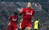 Liverpool's Virgil van Dijk celebrates his goal. Picture: @LFC/Twitter
