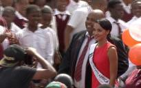 Miss SA Liesl Laurie visits her old school of  Silveroaks Secondary School in Eldorado Park, Johannesburg.