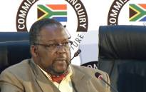 A screengrab shows former Police Minister Nathi Nhleko pictured at the state capture inquiry on 27 July 2020. Picture: SABC News/YouTube